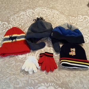 Boys hat & 2 pairs gloves